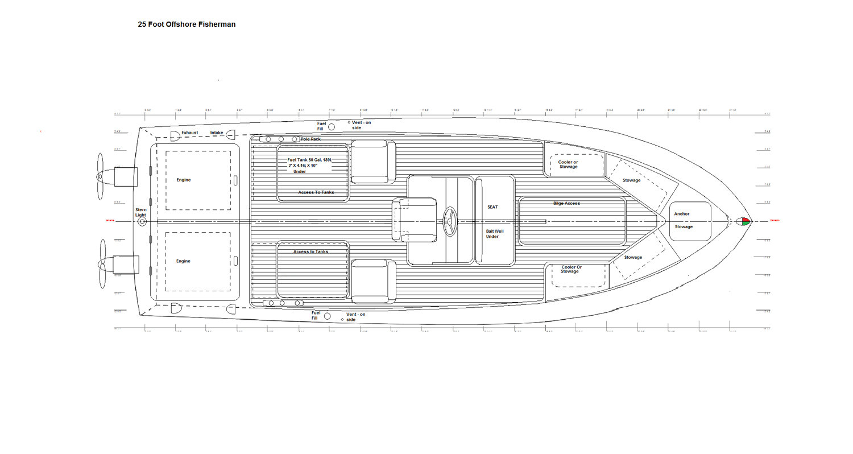 25 Foot Offshore Fisherman Plan View