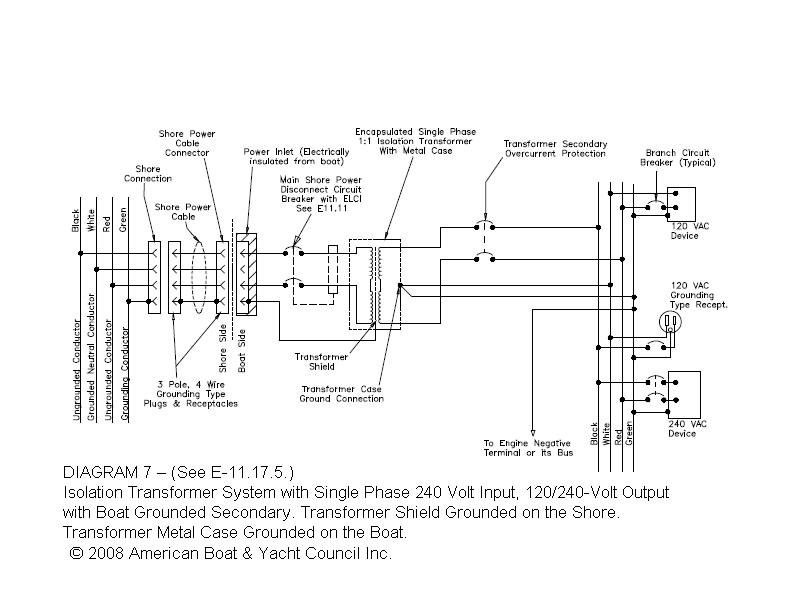 lethal voltage page 2 note that the diagram shows a 1 1 isolation transformer the one we installed was custom build by charles marine group to our specifications to allow