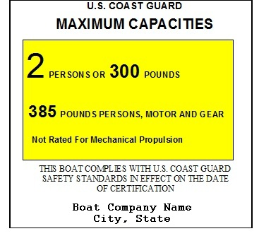 Capacity Label for rowboat
